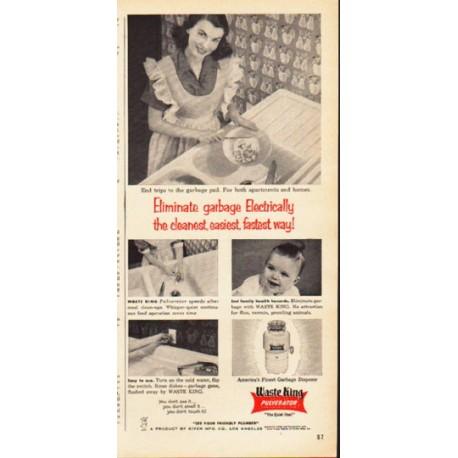 """1953 Waste King Ad """"Eliminate garbage"""""""