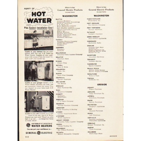"1953 General Electric Ad ""Hot Water"""