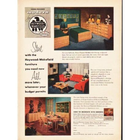 "1953 Heywood-Wakefield Ad ""furniture you need now"""