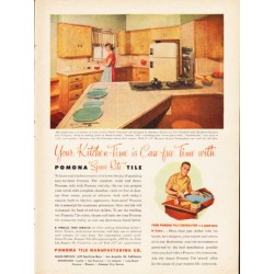 "1953 Pomona Tile Ad ""Your Kitchen-Time"""