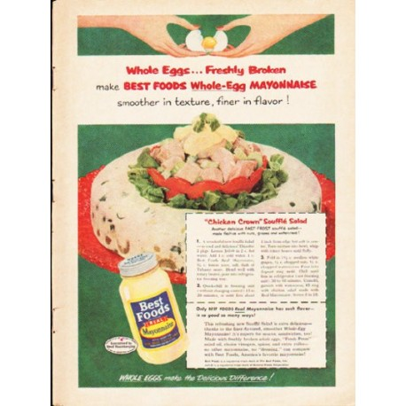 """1953 Best Foods Ad """"Whole Eggs"""""""