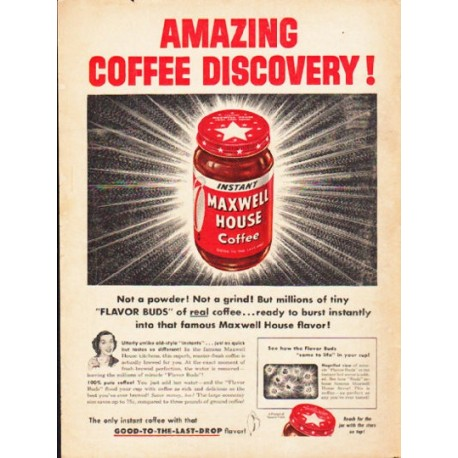 """1953 Maxwell House Ad """"Amazing Coffee Discovery"""""""