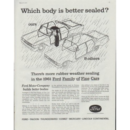 """1961 Ford Motor Company Ad """"Which body is better sealed?"""""""