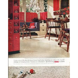 "1961 Armstrong Floors Ad ""A room comes to life"""