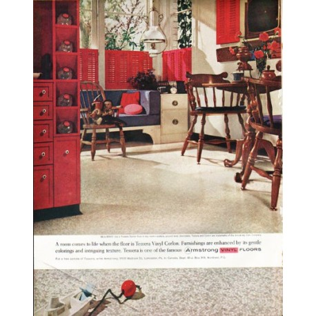 """1961 Armstrong Floors Ad """"A room comes to life"""""""