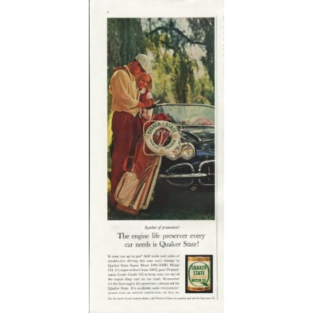 """1961 Quaker State Motor Oil Ad """"Symbol of protection"""""""
