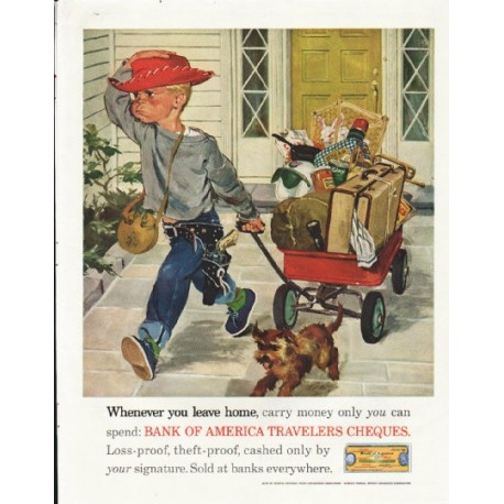 "1961 Bank of America Ad ""Whenever you leave home"""