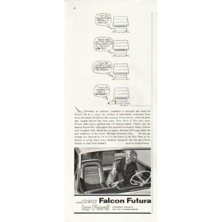 "1961 Ford Falcon Ad ""Driveway or parkway"" ~ model year 1961"