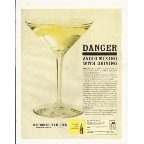 """1961 Metropolitan Life Ad """"Danger"""""""