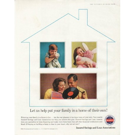 """1961 Insured Savings and Loan Associations Ad """"Let us help"""""""