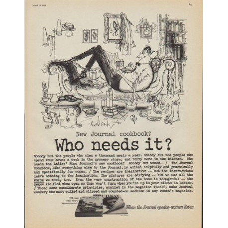 """1961 Ladies' Home Journal Cookbook Ad """"Who needs it?"""""""