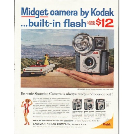"1961 Kodak Camera Ad ""Midget camera"""