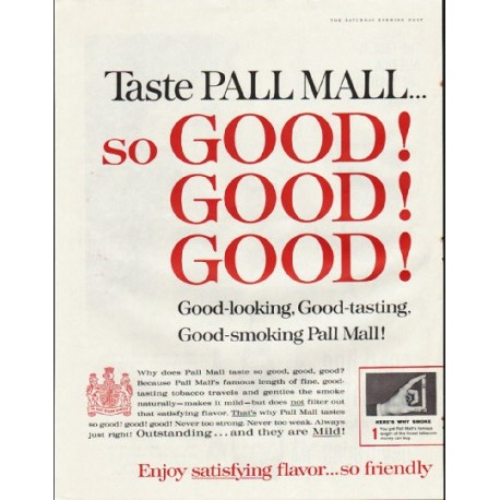 "1961 Pall Mall Cigarettes Ad ""so GOOD"""