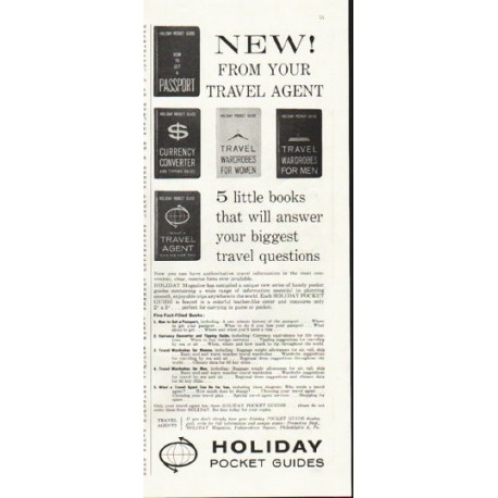 "1961 Holiday Pocket Guides Ad ""From your travel agent"""