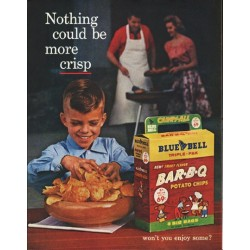 "1961 Blue Bell Potato Chips Ad ""more crisp"""
