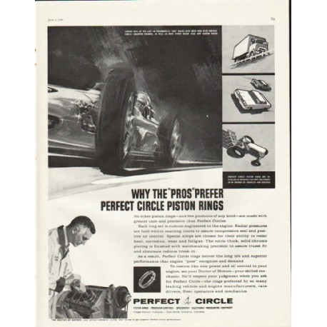 "1961 Perfect Circle Piston Rings Ad ""The ""Pros"""""
