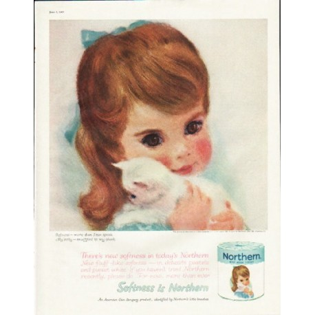 "1961 Northern Tissue Ad ""There's new softness"""