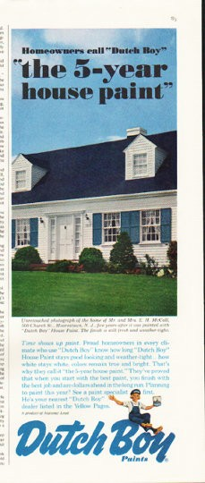 1961 Dutch Boy Paints Vintage Ad Quot 5 Year House Paint Quot