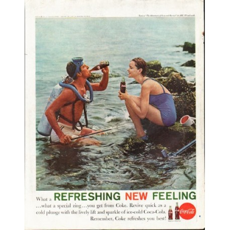 """1961 Coca-Cola Ad """"What a Refreshing New Feeling"""""""
