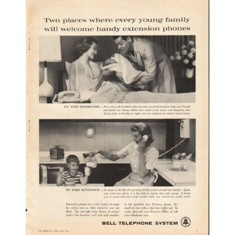 "1961 Bell Telephone System Ad ""Two places"""