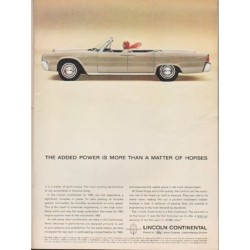 "1963 Lincoln Continental Ad ""The added power"" ~ (model year 1963)"