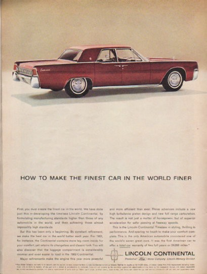 1963 lincoln continental vintage ad the finest car model year 1963. Black Bedroom Furniture Sets. Home Design Ideas