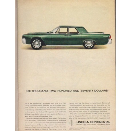 Promotional Advertising Poster 1963 Lincoln Continental Convertible