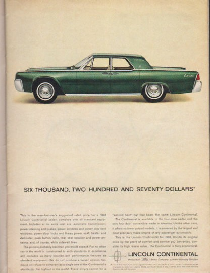 1963 lincoln continental vintage ad six thousand model year 1963. Black Bedroom Furniture Sets. Home Design Ideas