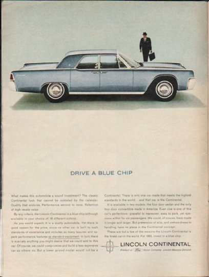 1963 lincoln continental vintage ad drive a blue chip model year 1963. Black Bedroom Furniture Sets. Home Design Ideas