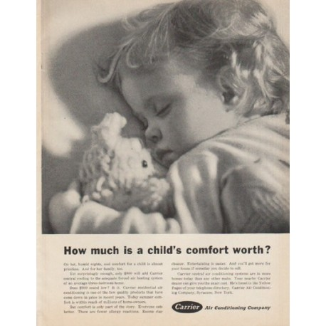"1961 Carrier Air Conditioner Ad ""a child's comfort"""