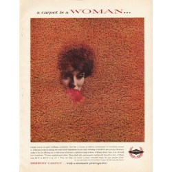 "1961 Roxbury Carpet Ad ""a carpet is a Woman"""