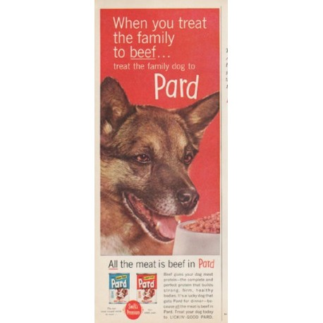 "1961 Pard Dog Food Ad ""treat the family to beef"""
