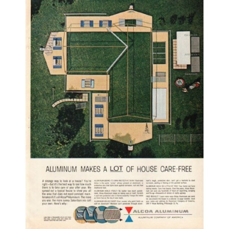 """1961 Alcoa Aluminum Ad """"a lot of house"""""""