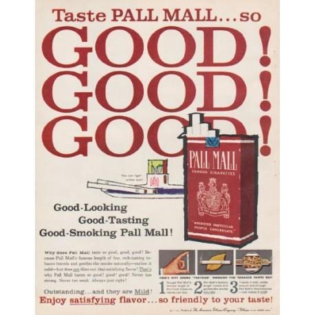 "1961 Pall Mall Cigarettes Ad ""Taste Pall Mall"""