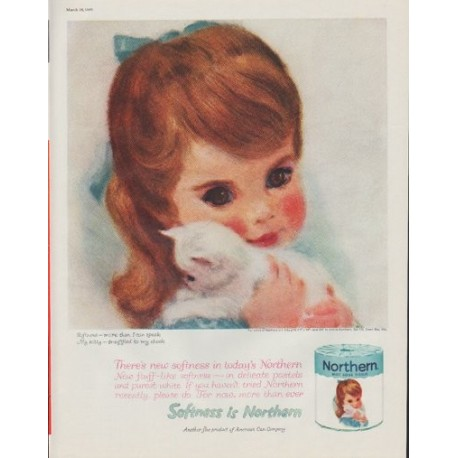 "1961 Northern Tissue Ad ""Softness is Northern"""