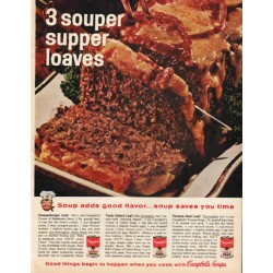 "1961 Campbell's Soup Ad ""3 souper supper loaves"""