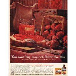 "1961 Sure-Jell Ad ""rosy-rich flavor"""