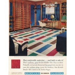 "1961 Kentile Floors Ad ""Most comfortable underfoot"""