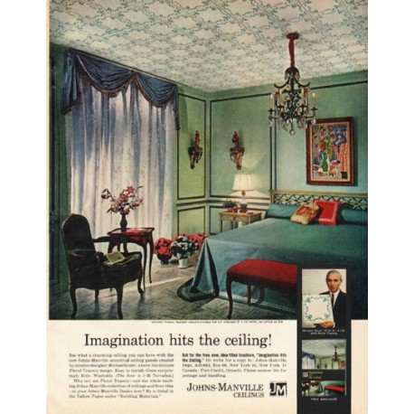 """1961 Johns-Manville Ad """"Imagination hits the ceiling!"""""""