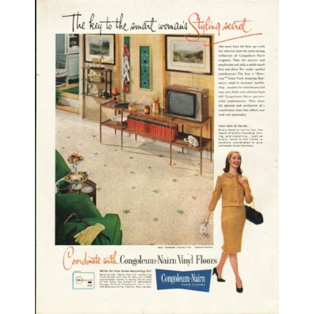 "1961 Congoleum-Nairn Ad ""smart woman's Styling secret"""