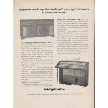 """1962 Magnavox Ad """"space age electronics"""""""