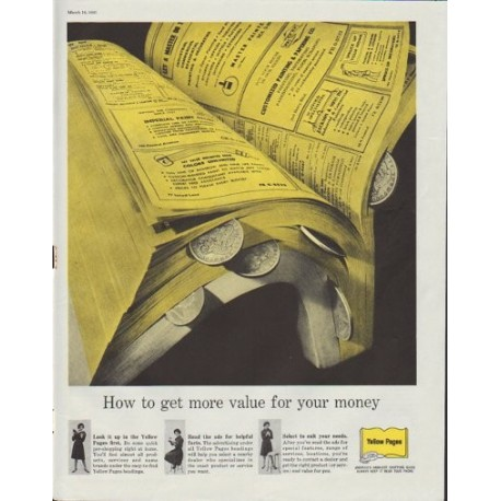 "1961 Yellow Pages Ad ""How to get more value for your money"""