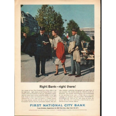 """1962 First National City Bank Ad """"Right Bank"""""""