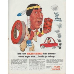 """1961 Fram Filters Ad """"... boosts gas mileage!"""""""