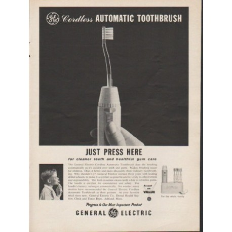 "1962 General Electric Ad ""Just Press Here"""
