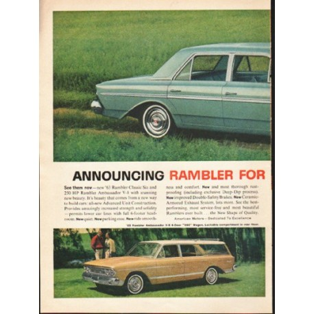 "1963 Rambler Ad ""The New Shape Of Quality"" ~ (model year 1963)"