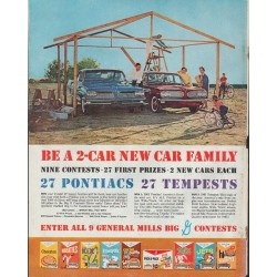 "1961 Pontiac and Tempest Ad ""Be a 2-car new car family"""