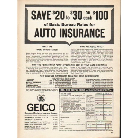 """1962 GEICO Ad """"Save $20 to $30"""""""