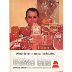 """1962 Avisco Ad """"We're deep in meat packaging!"""""""