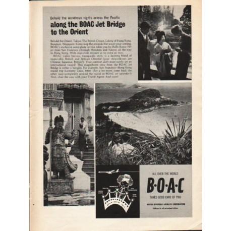 "1962 British Overseas Airways Corporation Ad ""Jet Bridge"""